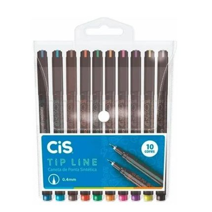 Estojo-Caneta-Tip-Line-0.4mm-Ponta-Sintetica---10-cores---Cis--76.2000-